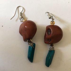 Skull turquoise earring